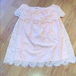 Light peach off the shoulder dress!
